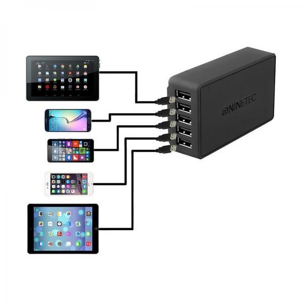 Incarcator priza 5 Porturi USB NINETEC NT-540IQ, 40 W 3
