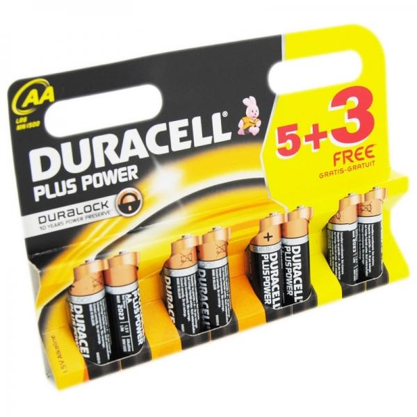 Set baterii AA Duracell DCEL500039401813, 5 + 3 bucati, Duralock Plus power 0