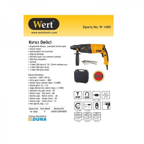 Ciocan rotopercutor Wert W1400, 800 W, 900 rpm, 3 J 1
