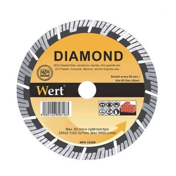 Disc diamantat turbo, tăiere beton, zidărie, piatră Wert W2713-115, Ø115x22.2 mm 0