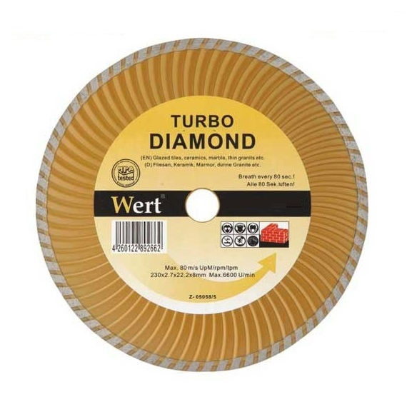 Disc diamantat turbo, taiere beton, piatra, granit Wert W2712-115 Ø115x22.2 mm 0