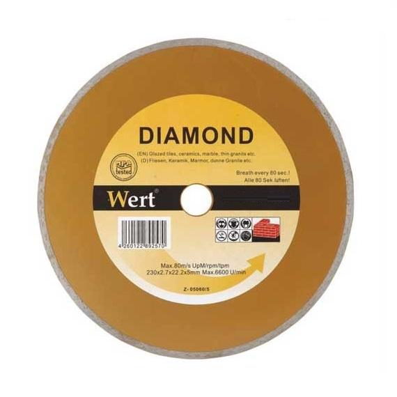 Disc diamantat, tăiere marmură, granit, faianță Wert W2710-115, Ø115x22.2 mm 0