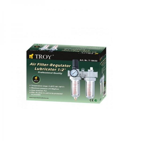 "Filtru - Regulator - Uleietoare Troy T18622, 1/2"", 0-8 bari 1"