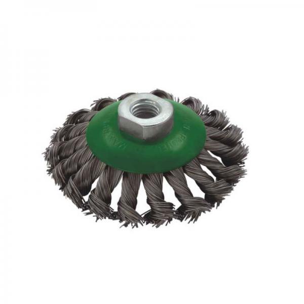 Perie de sarma conica cu fir rasucit Troy T27705-100,  100 mm × M14 0