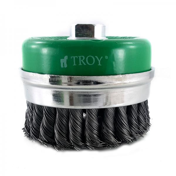 Perie de sarma tip cupa cu fir rasucit Troy T27708-75, 75 mm 1