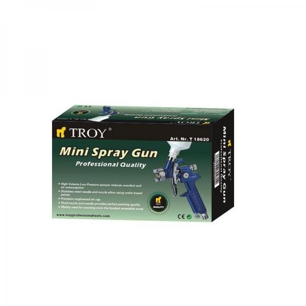 Pistol de vopsit cu aer comprimat Troy T18620, 125 ml, Ø1.0 mm 1