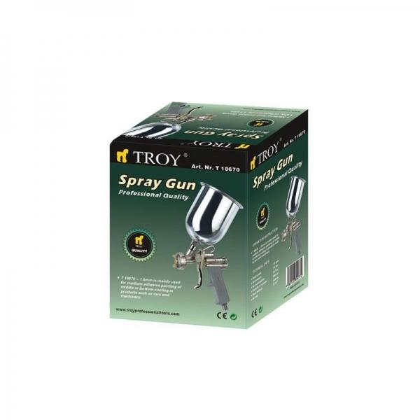 Pistol de vopsit cu aer comprimat Troy T18670, 600 ml, Ø1.5 mm 1