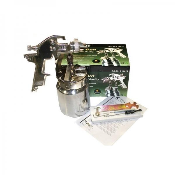 Pistol de vopsit cu aer comprimat alimentare prin suctiune 1000ml Troy T18619, Ø1,8mm 1