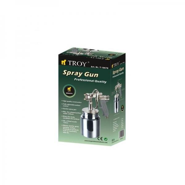 Pistol de vopsit cu aer comprimat alimentare prin suctiune Troy T18678, 1000 ml, Ø1.8mm 1