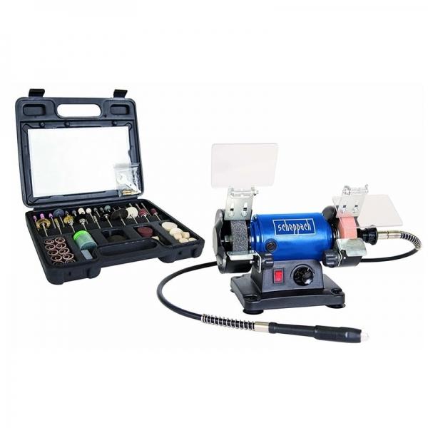 Polizor de banc pentru lustruire HG34 + cutie de accesorii Scheppach SCH5903106901, 120 W, 9900 rpm 0