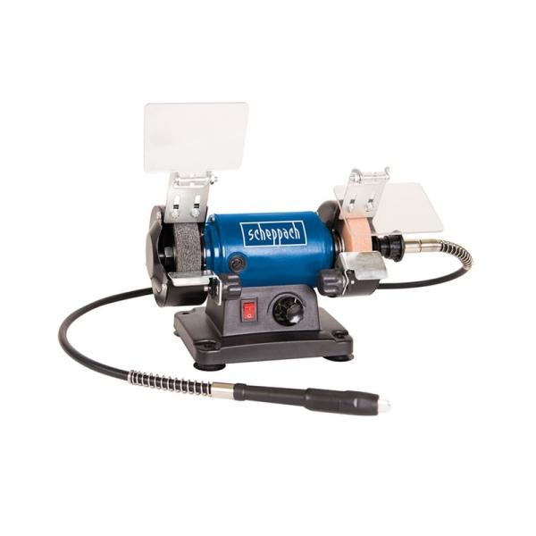 Polizor de banc pentru lustruire HG34 + cutie de accesorii Scheppach SCH5903106901, 120 W, 9900 rpm 1