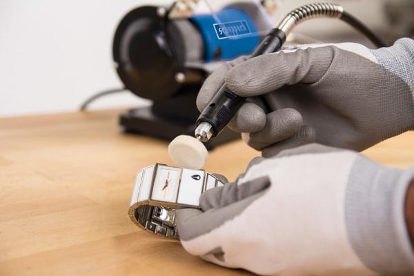 Polizor de banc pentru lustruire HG34 + cutie de accesorii Scheppach SCH5903106901, 120 W, 9900 rpm 5