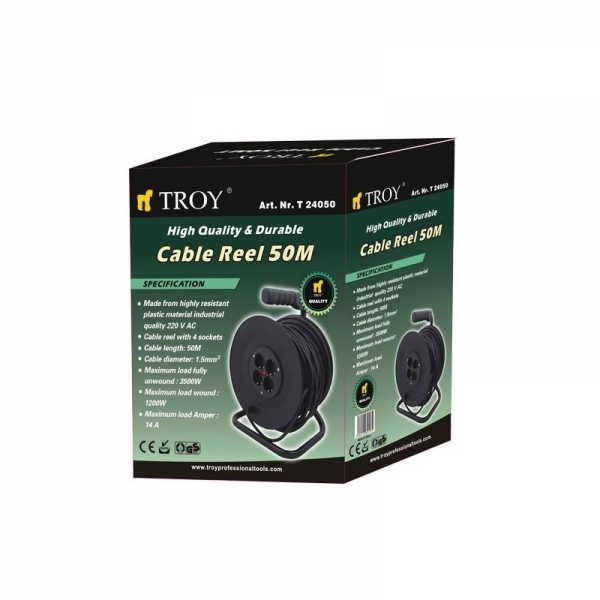 Prelungitor electric pe tambur Troy T24050, 50 m 1