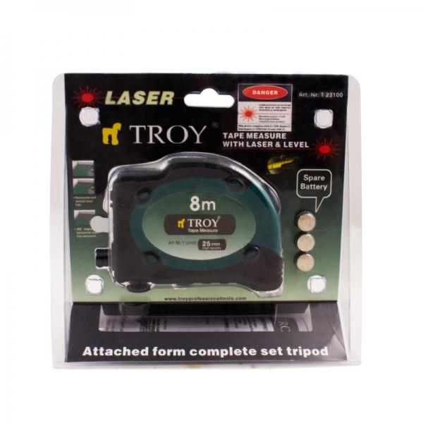 Ruletă cu laser, 8m x 25 mm TROY 6