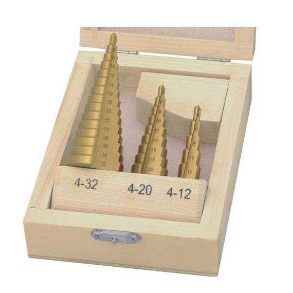Set burghie conice acoperite cu titan pentru tablă Wert W3500, Ø4-32 mm, 3 piese 0