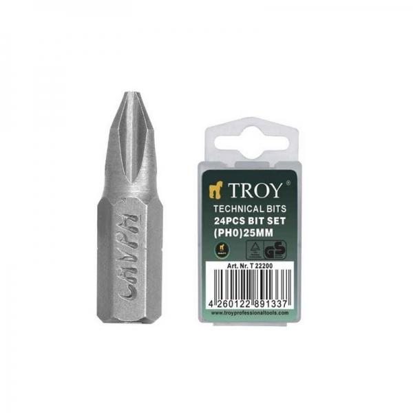 Set de biti Troy T22200, PH0, 25 mm, 24 bucati 0