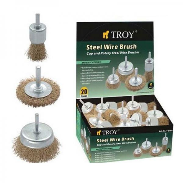 Set perii de sarma circulare si tip cupa cu tija Troy T27700, 25-75 mm, 20 piese 1