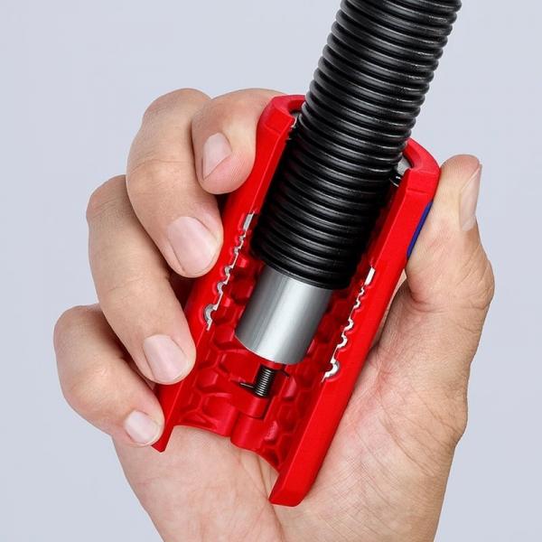 Taietor de teava ondulata si dezizolator Knipex KNI902202SB, Ø13-32 mm 4