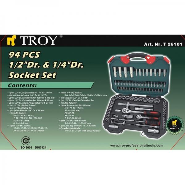 Trusa chei tubulare si biti Troy T26101, 94 piese 9