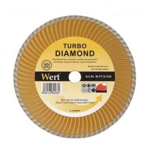 Disc diamantat turbo, tăiere beton, ceramică, cărămidă Wert Ø230x22.2 mm