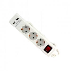 Prelungitor electric cu 3 prize și 2 porturi USB Troy T24023, 1.4 m0