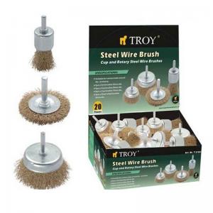 Set perii de sarma circulare si tip cupa cu tija Troy T27700, 25-75 mm, 20 piese1
