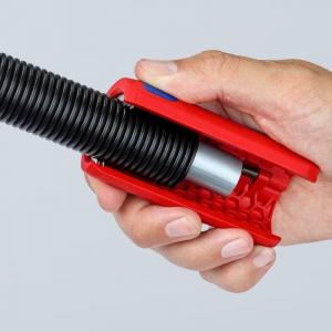 Taietor de teava ondulata si dezizolator Knipex KNI902202SB, Ø13-32 mm5