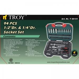 Trusa chei tubulare si biti Troy T26101, 94 piese9