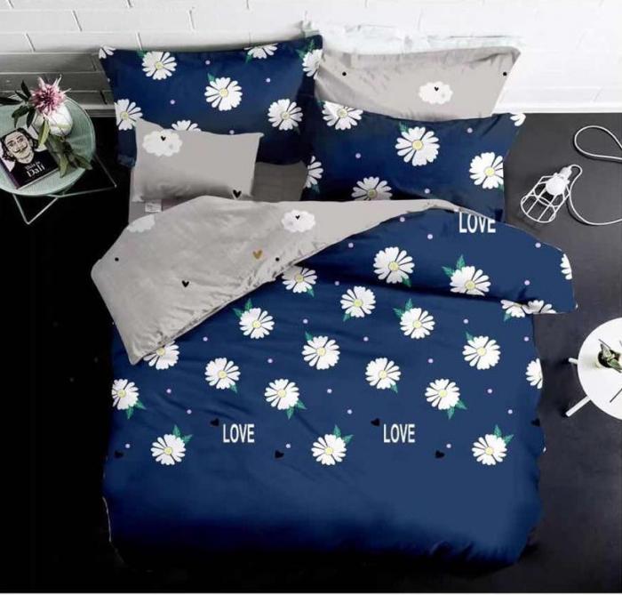 Lenjerie de pat 6 piese finet bleumarin cu crizanteme-LE17 0