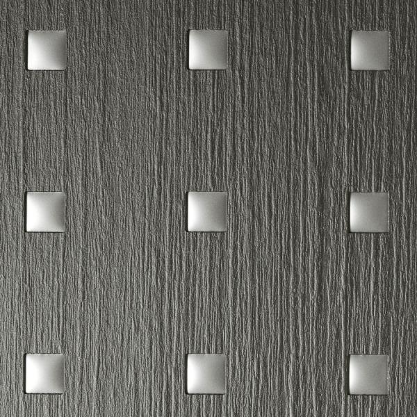 Panou de perete 12557 3D QUAD Pătrat din lemn 3D optic gri argint 1