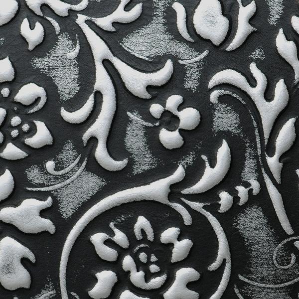 Panou decorativ 13412 FLORAL din piele barocă 3D culoare negru cu argint 2