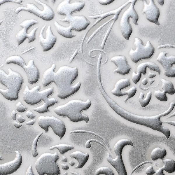 Panou decorativ 13414 FLORAL Baroque din piele 3D optic - argint alb 1