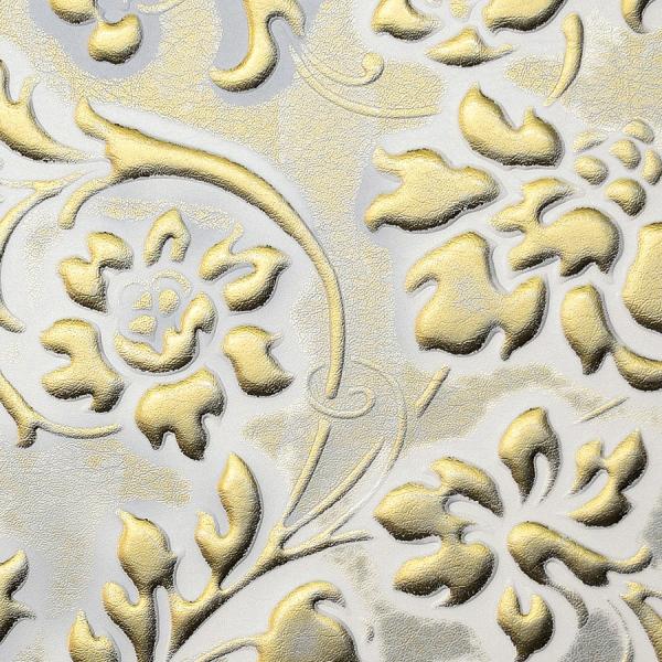 Panou decorativ 13415 FLORAL Baroque din piele 3D culoare aur alb 1