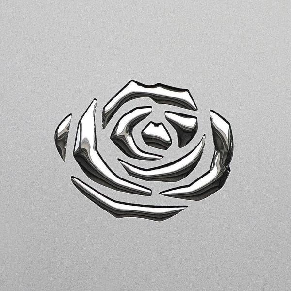 Panou Decorativ 13919 3D ROSE Metal Floral Rose 3D Optic Argint Gri 1
