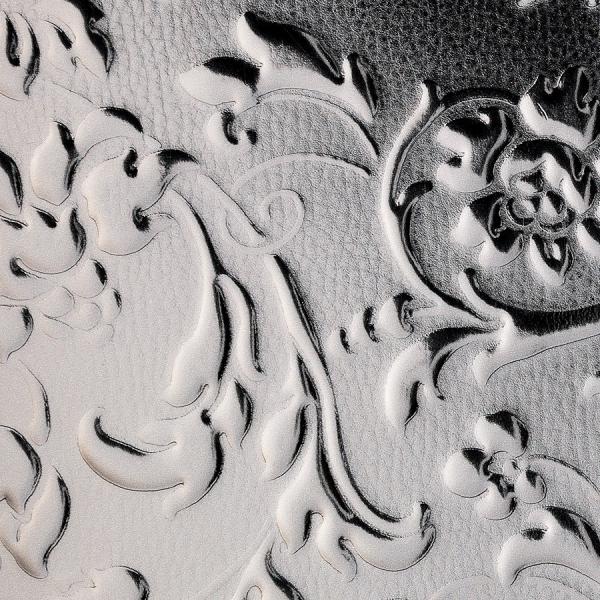 Panou decorativ 14266 FLORALdin piele  barocă 3D culoare Platinum Gri 1