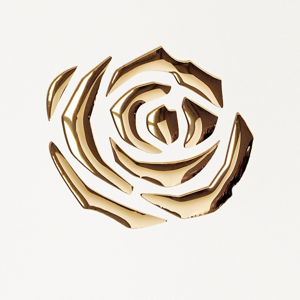 Panou Decorativ 16444 3D ROSE Metal Floral Rose 3D Optic Aur alb 1