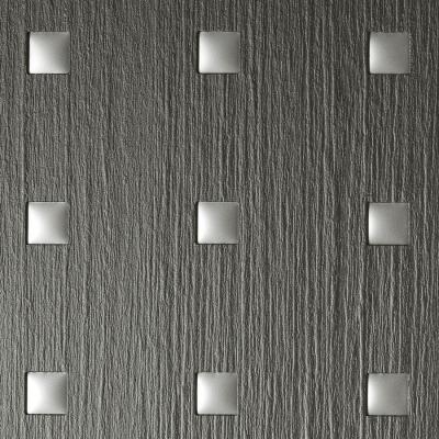 Panou de perete 12557 3D QUAD Pătrat din lemn 3D optic gri argint1