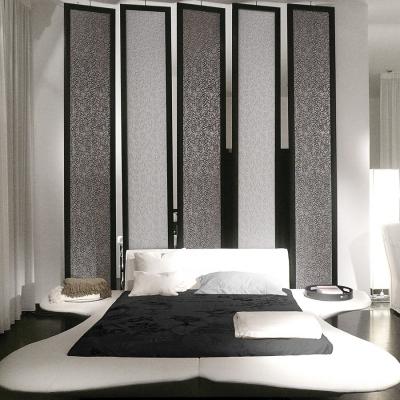 Panou decorativ 13412 FLORAL din piele barocă 3D culoare negru cu argint3