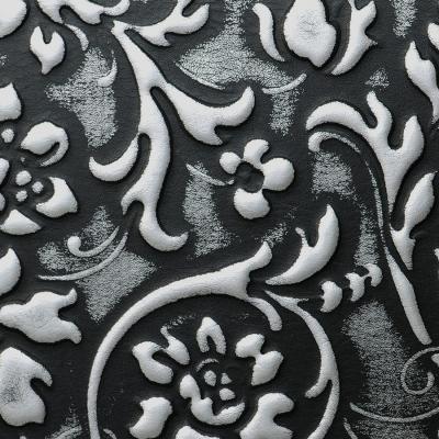Panou decorativ 13412 FLORAL din piele barocă 3D culoare negru cu argint2