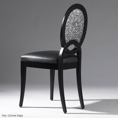 Panou decorativ 13412 FLORAL din piele barocă 3D culoare negru cu argint1