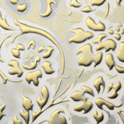 Panou decorativ 13415 FLORAL Baroque din piele 3D culoare aur alb1