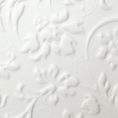Panou decorativ 13473 FLORAL Baroque din piele 3D culoare oțel alb1