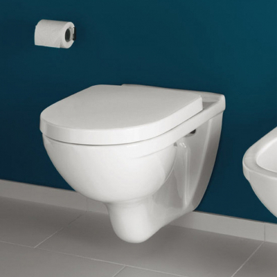 Set vas WC suspendat Villeroy & Boch, O.Novo, direct flush, cu capac soft close si quick release, alb1