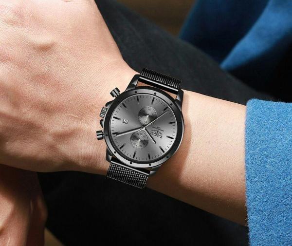 Ceas Barbatesc Cronograf Elegant Analog Quartz Otel inoxidabil 3