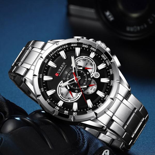 Ceas Curren Sport Otel inoxidabil Cronograf Luxury Business Fashion 3