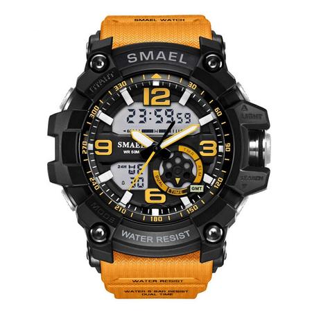 Ceas barbatesc, Shock resistant, Militar, Sport, Orange, Smael, Alarma, Calendar, Dual time, Cronometru 0