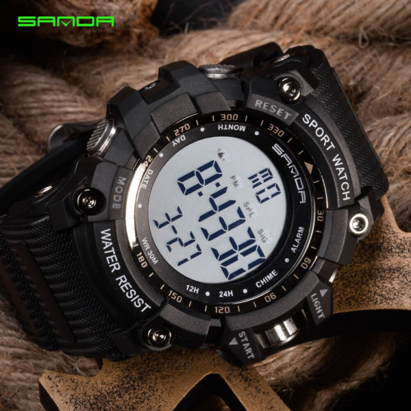 Ceas barbatesc Sanda, Sport, Militar, Army, Fashion, LED, Outdoor, Digital, Rezistent la apa, Cronometru, Alarma, Calendar 2