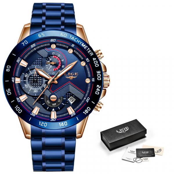 Ceas barbatesc Business Elegant Cronograf Elegant Otel Inoxidabil Quartz 2