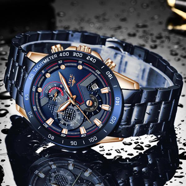 Ceas barbatesc Business Elegant Cronograf Elegant Otel Inoxidabil Quartz 5