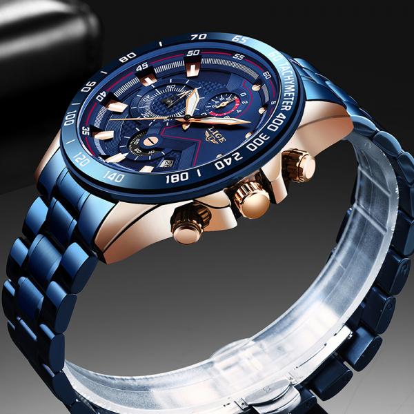 Ceas barbatesc Business Elegant Cronograf Elegant Otel Inoxidabil Quartz 6
